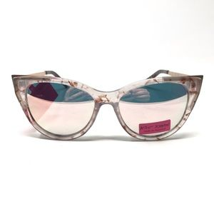 Betsy Johnson Clear Mirrored CatEye Sunglasses NWT